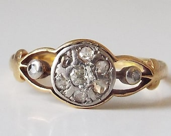 Antique diamond 18ct and silver diamond ring - engagement ring