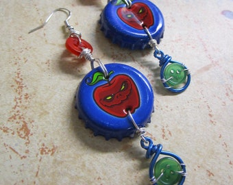 Recycled + Repurposed Wicked Grove Apple Bottle Cap Beaded + Buttoned Dangle Earrings