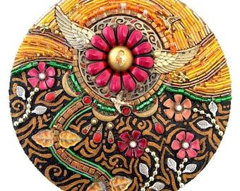 "Beaded Mosaic Art - ""Suddenly in Sunlight"" - Mixed Media Round Wood Garden Wall Hanging"