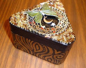"""Beaded Mosaic Jewelry Box - """"Evolve"""" - Triangular Wood Box - Original Art"""