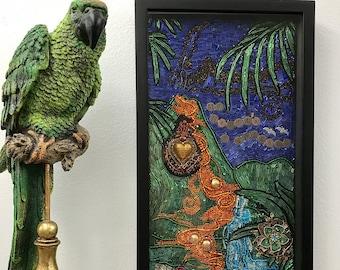"Beaded Mosaic Art - ""My Heart's a Volcano"" - Hawaii Love Theme - Black Shadowbox"