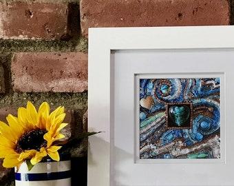 """Framed 5x5 inch """"Ocean Heart"""" Fine Art Print - beaded mosaic art, wall art, framed prints, Diana Maus original art"""