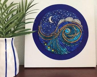 "Beaded Mosaic Art on Wood Panel - ""Moonlight Flight"" - Ocean Night Theme with Birds"