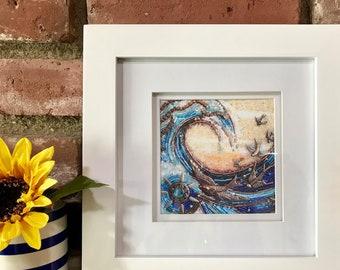 """Framed 5x5 inch """"SunSwept"""" Fine Art Print - beaded mosaic art, wall art, framed prints, Diana Maus original art"""