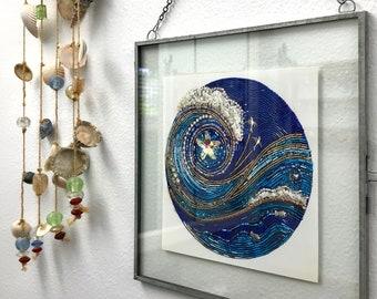 StarSwept framed digital print of beaded mosaic art