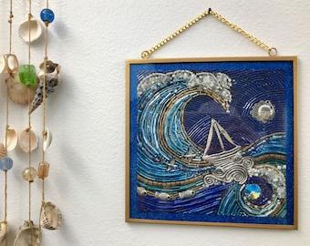 Lean In framed digital print of beaded mosaic art