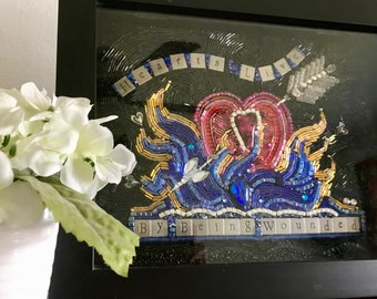 """Beaded Mosaic Art - """"Hearts Live By Being Wounded"""" - Shadowbox - Free standing Art"""