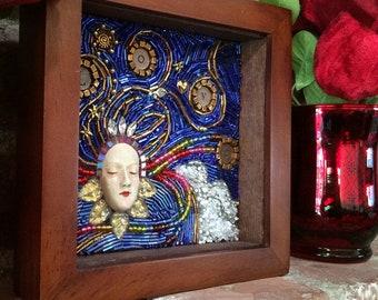 "Beaded Mosaic Art - ""Love Is All You Need"" - Small Wood Shadowbox - Original Art"