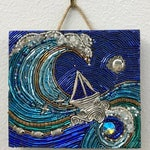 """Reserved for Tina - """"Lean In""""- Mixed Media Wall Hanging with Sailboat and Birds in Flight"""