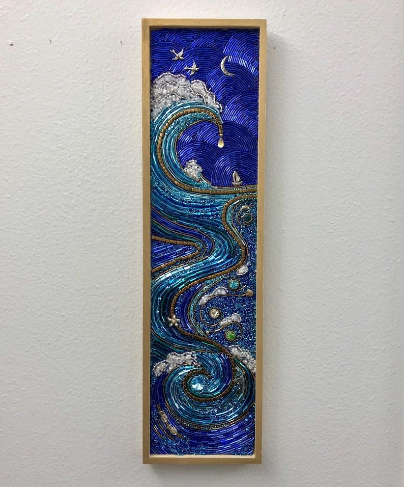 Mother Sea ll Beaded Mosaic Art  Ocean Wave Wall Hanging image 0