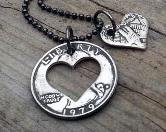 Quarter 42nd Birthday 1979 Heart Necklace 42nd Birthday Gift 38th Anniversary Coin Jewelry made from a 1979 U.S