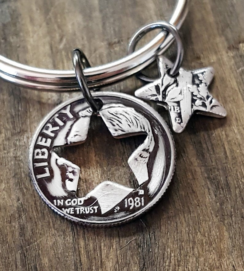 1981 40th Birthday Dime Star Key Chain 40th Anniversary 40th Birthday Gift Coin Jewelry made from a 1981 Dime