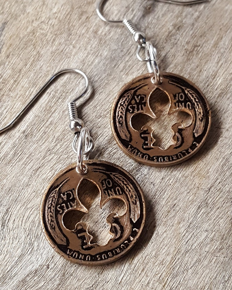 81st Birthday 1940 Penny Fleur de lis Earrings  81st Birthday Gift  for Her Coin Jewelry made from a 1940 Penny Gift for Her Gift for Woman