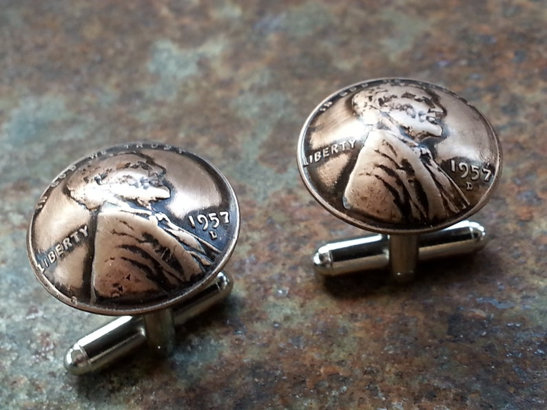 62nd Birthday 1957 Penny Cuff Links 62nd Anniversary Gift Fathers Day Groomsmen Gift 62nd Coin Jewelry made from a 1957 Penny Gift for Men