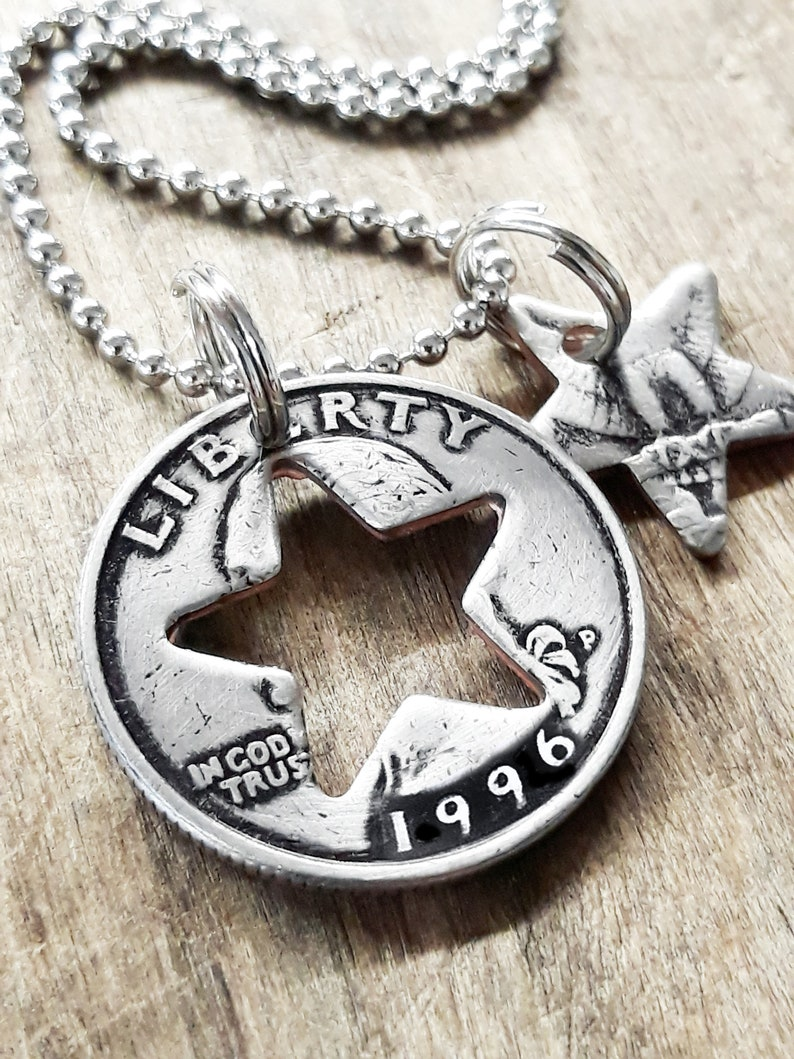 Quarter Gift for Him or Her 25th Birthday 1996 Quarter Star Necklace 25th Birthday Gift 25th Anniversary Coin Jewelry made from a 1996 U.S