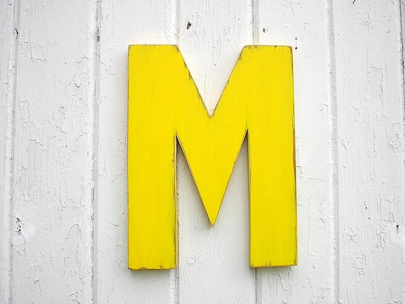 Kids Wooden Wall Decor Letter M 12 inch Yellow Nursery Wall