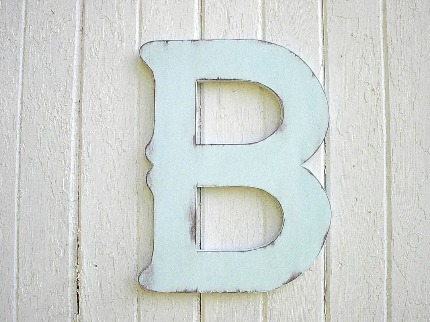 Large Decorative Wooden Letters: Wooden Letters B 18 Inch China Blue Distressed Decorative