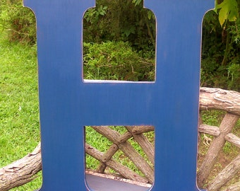 Wedding guest book letter H 30 inch wooden letters Navy Distressed Wall Decor shabby chic style