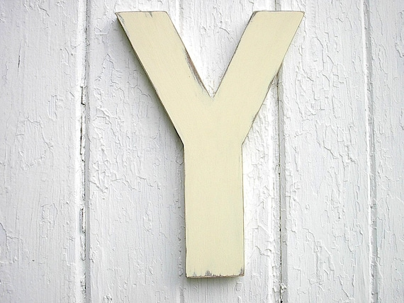 Rustic Wooden Letter Y 12 Antique White Wall Hanging