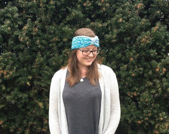 White and Blue Bow Ear Warmer Headband Woman Teen Adult