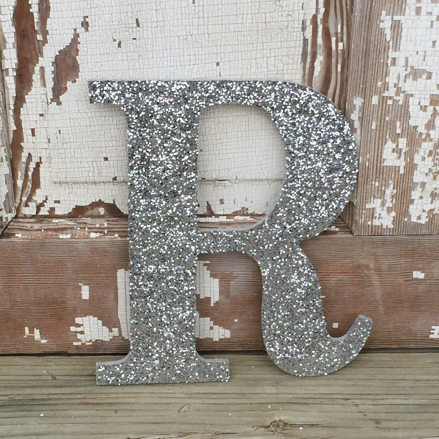 9 Decorative Silver Glitter Wall Letters Girls Bedroom | Etsy