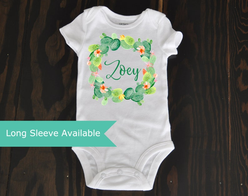 d34474d73 Cactus Wreath Custom baby girl Name bodysuit gift, Custom floral  personalized baby girl clothing, custom baby shower gift watercolor cactus