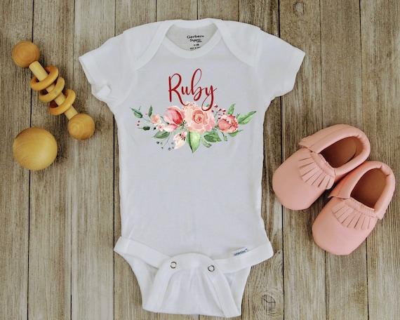 FLORIST BODY SUIT PERSONALISED MUMMY/'S LITTLE BABY GROW NEWBORN GIFT