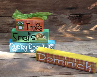additional large block-personalized for frogs snails and puppy dog tails