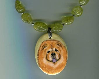 Hand painted chow green quartz necklace