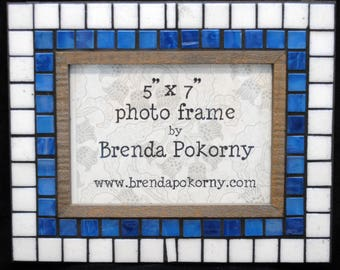 Rustic Blue and White Mosaic 5 x 7 Photo Frame  MOF1465 Picture Frame