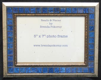 Brushed Gold with Regal Blue 5 x 7 Mosaic Photo Frame  MOF1462 Picture Frame