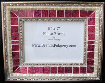 Large Antique look Berry and Pearl Mosaic Photo Frame  MOF1461 Picture Frame