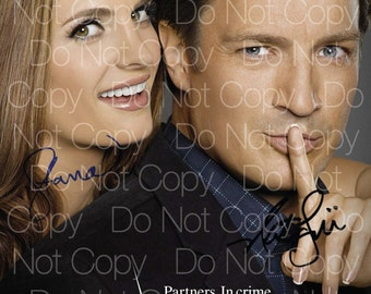 Castle signed Nathan Fillion Stana Katic 8X10 photo picture signed autograph RP