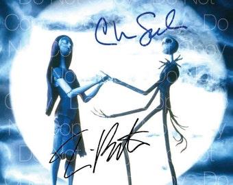 Nightmare Before Christmas signed Tim Burton  Chris Sarandon 8X10 photo picture autograph RP