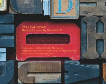 "2018 Calendar of 12 months in a 12""x12"" format / LIMITED EDITION / vintage style / flatlay photogs / Vintage Tools / shop gift/ gift for him"