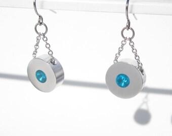 Contemporary Jewelry – Minimalist Earrings – Disc Earrings – Dangle Drop Earrings