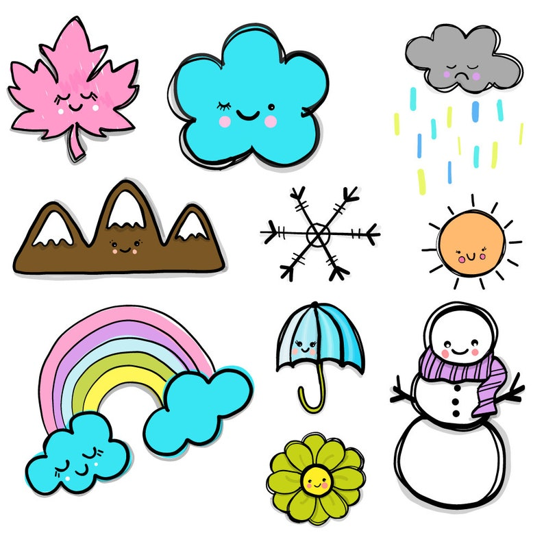 weather seasons clipart  10 PNG files  Transparent background  300 dpi   Instant download  Buy 2 Get One 1/2 Price