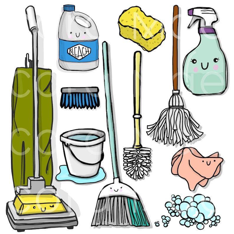 Cleaning clipart  11 PNG files  Transparent background  300 dpi  Instant  download