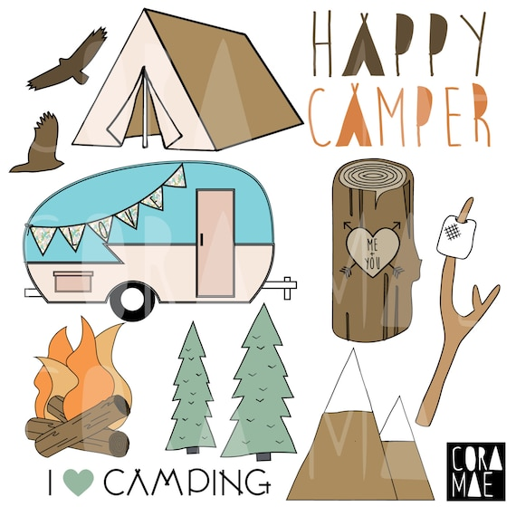 Happy Camper Clipart 12 PNG Files Transparent Background