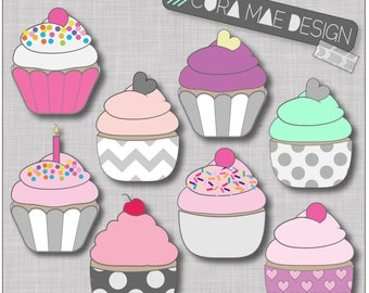Cupcake clipart, Instant download, 8 PNG files,Transparent background, 300 dpi resolution. Buy 2 Get One 1/2 Off!