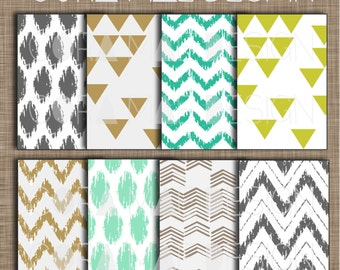 """Ikat Tribal Prints. 12x12"""".  Instant download. 8 PNG sheets, 300 dpi resolution. Buy 2 get one 1/2 Off!"""