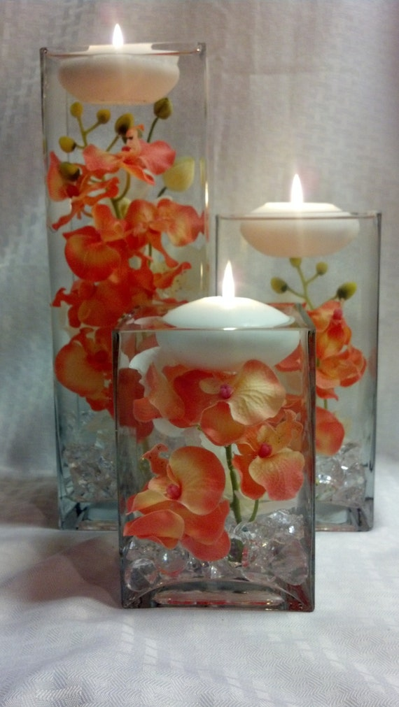 Three Square Vases With Coral Orchids And Floating Etsy