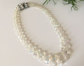 Multistrand necklace / Vintage necklace / Clear aurora borealis crystal necklace / Midcentury necklace / 50s necklace / 60s necklace