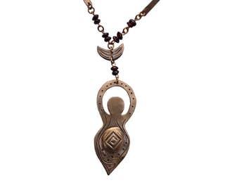 Bronze Garnet Goddess Necklace ~ Moon Goddess Amulet ~ Goddess Rosary ~ Witchy ~ Pagan Jewelry ~ Crystal Necklace ~ Goddess Crescent