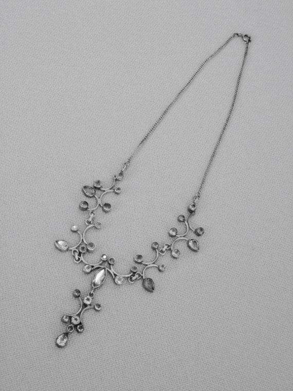 Edwardian style silver and citrine drop necklace