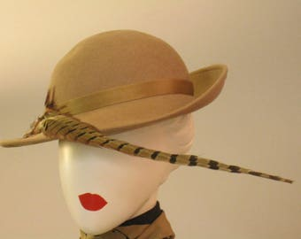 vintage felt hat with feather styled by Coralie