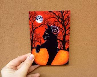 "Postcard ""Demons Cat"" Halloween"