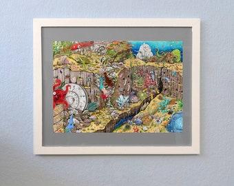 Hidden Object Poster Print Din A3 Sea Mermaids