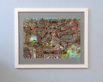 Hidden Object Poster Print Din A3 Under the Earth