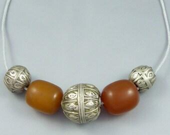 Old yemeni silver beads, with old phenolic resin beads - bedouin necklace - bedouin silver, yemen necklace